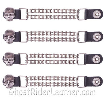 Set of Four Skull Vest Extenders with Chrome Motorcycle Chain / SKU GRL-AC1064-BC-DL