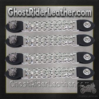 Set of Four Smiling Hog Vest Extenders with Chrome Chain / SKU GRL-AC1055-DL