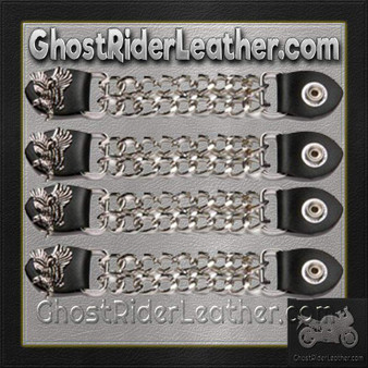 Set of Four Soaring Eagle Vest Extenders with Chrome Chain / SKU GRL-AC1098-E-DL
