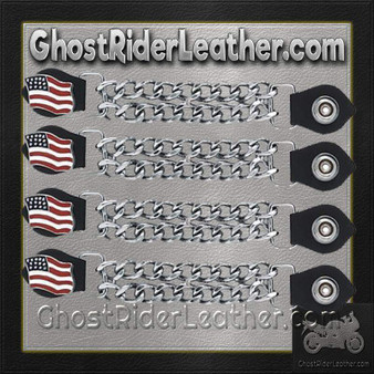 Set of Four USA Flag Vest Extenders with Chrome Chain / SKU GRL-AC1058-DL