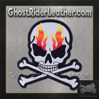 Silver Metallic Skull Crossbones with Flames Patch / SKU GRL-PAT-A15-DL
