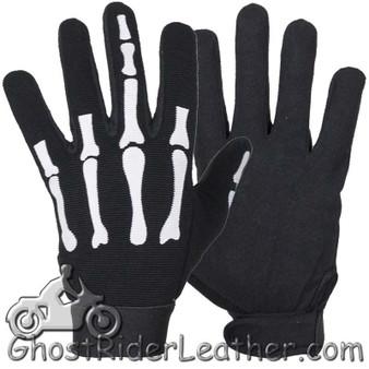Skeleton Hand Mechanics Gloves Giving Middle Finger - SKU GLZ89-DL