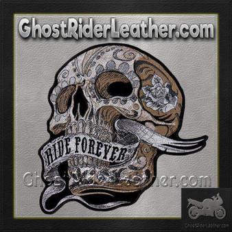 Skull With Ride Forever Banner Vest Patch - SKU GRL-PPA8283-HI