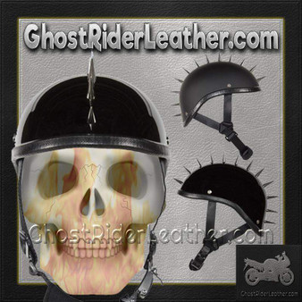 Spiked Gladiator Novelty Motorcycle Helmet in Gloss or Flat Black - SKU GRL-H403-H503-02-DL