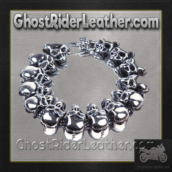 Stainless Steel Biker Bracelet with Skulls - SKU GRL-BR27-DL