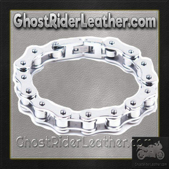 Stainless Steel Single Link Motorcycle Chain Bracelet - SKU GRL-BR12-DL