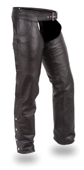 Stampede Black Leather Chaps for Men or Women - SKU GRL-FIM835NOC-FM
