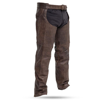 Stampede Brown Leather Chaps for Men or Women - SKU GRL-FIM835CAN-FM