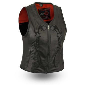 Stardom - Women's Leather Motorcycle Vest - SKU GRL-FIL580CSL-FM