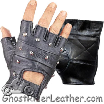Studded Fingerless Biker Leather Motorcycle Gloves - SKU GRL-GL2010-DL