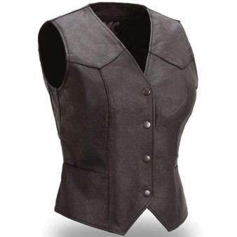 Sweet Sienna - Women's Leather Motorcycle Vest - SKU GRL-FML500CR-FM