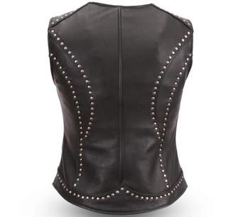Taylor - Women's Studded Motorcycle Leather Vest - SKU GRL-FIL560NOC-FM