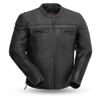 The Maverick - Motorcycle Leather Jacket - Big and Tall - SKU FIM262NTCZ-FM