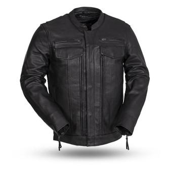 The Raider - Men's Black Diamond Naked Leather Motorcycle Jacket - Up To Size 8XL - SKU FIM263CDMZ-FM