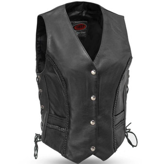 Trinity - Women's Leather Motorcycle Vest With Side Laces - SKU GRL-FIL508CFD-FM