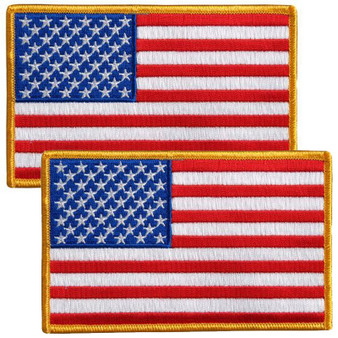 TWO American Flag Patches - Small - SKU PPA1221-X2-HI