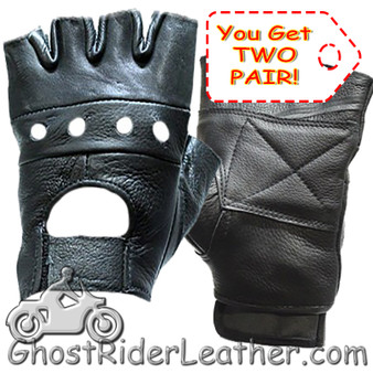 Two Pair of Fingerless Leather Motorcycle Gloves - SKU GL2008-2PAIR-DL