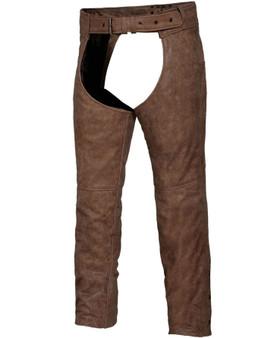 UNIK Unisex Arizona Brown Leather Chaps - SKU GRL-720-ANT-UN