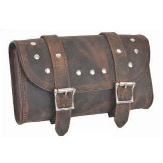 UNIK Brown Leather Tool Bag With Studs - SKU GRL-9650-00-UN