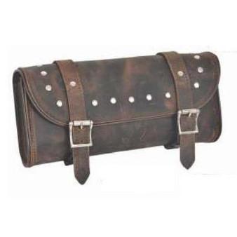 UNIK Brown Leather Tool Bag With Studs - SKU GRL-9666-00-UN