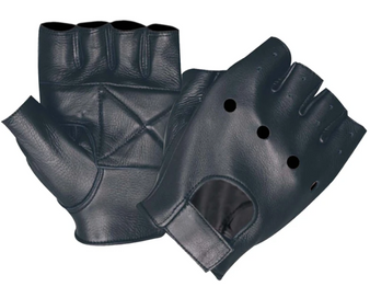 Men's Fingerless Leather Gloves With Gel Palm - SKU 1450-00-UN