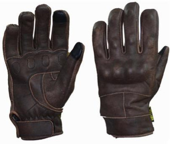 Full Finger Brown Reinforced Leather Gloves - SKU 8167-BR-UN