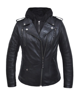 UNIK Ladies 3-in-1 Premium Lambskin Leather Jacket With Removable Hoodie - 6841-00-UN