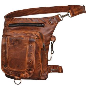 Women's Orange Leather Thigh Bags - SKU 5734-ORG-UN