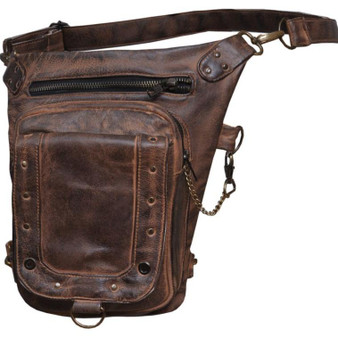 UNIK Ladies Brown Leather Thigh Bags - SKU GRL-5735-TAN-UN