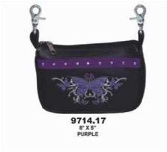 Ladies Studded Clip On Bag With Purple Butterfly Embroidery - SKU 9714-17-UN