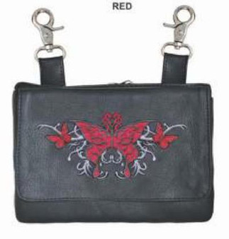 Women's Clip On Leather Bag - Belt Bag With Red Butterfly - SKU 9700-01-UN