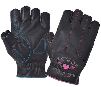 Ladies Fingerless Gloves With Pink Heart Embroidery - SKU 8145-22-UN