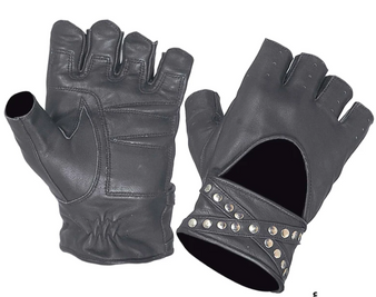 Women's Fingerless Leather Motorcycle Gloves With Studs Design - SKU 8296-00-UN