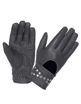 Women's Leather Biker Gloves With Studs - Motorcycle Riding Gloves - SKU 8295-00-UN