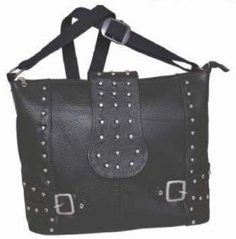 UNIK Ladies Leather Concealed Carry Handbag With Studs Design - SKU 9726-00-UN