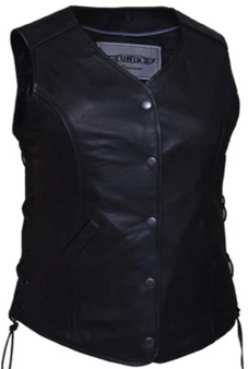 UNIK Ladies Leather Motorcycle Vest with Side Laces - SKU GRL-668-SL-UN