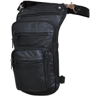 UNIK Ladies Black Leather Thigh Bags - SKU 5730-00-UN