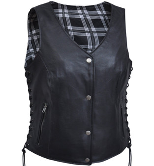 UNIK Ladies Leather Vest with Black and White Flannel Liner - SKU GRL-6895-00-UN