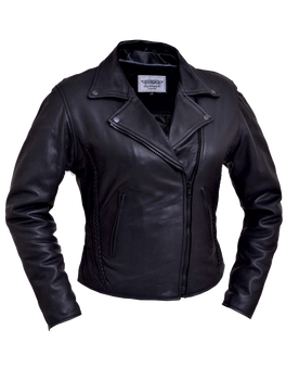 UNIK Ladies Lightweight Leather Jacket With Braid Design - 254-GO-UN