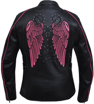 UNIK Ladies Racer Style Leather Motorcycle Jacket With Hot Pink Wings - 6824-24-UN