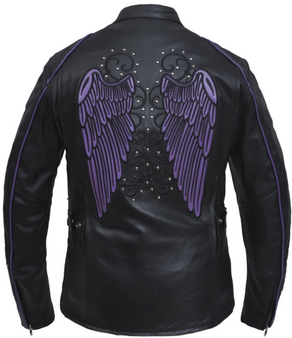 UNIK Ladies Racer Style Leather Motorcycle Jacket With Purple Wings - 6824-17-UN