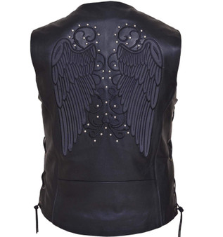 Women's Motorcycle Premium Leather Vest - Reflective Wings Design - 6879-RF-UN