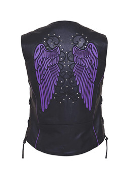 UNIK Ladies Motorcycle Premium Leather Vest - SKU GRL-6879.17-UN