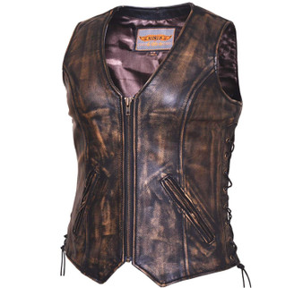 UNIK Ladies Nevada Brown Ultra Leather Motorcycle Vest - SKU GRL-399-ABR-UN