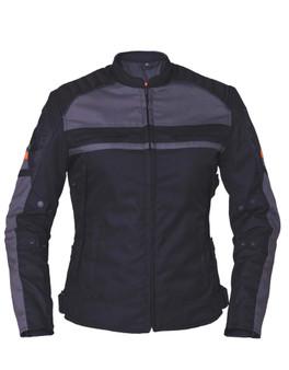 Women's Nylon Textile Jacket - Racing Style - SKU 3673-16-UN