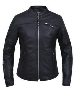 UNIK Ladies Premium Lambskin Leather Racer Jacket With Kevlar - 6843-00-UN