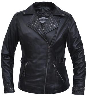 UNIK Ladies Premium Lambskin Leather Jacket - Stud Design - 6828-00-UN