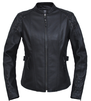 UNIK Ladies Premium Lambskin Leather Jacket With Lacing Design - 6829-00-UN