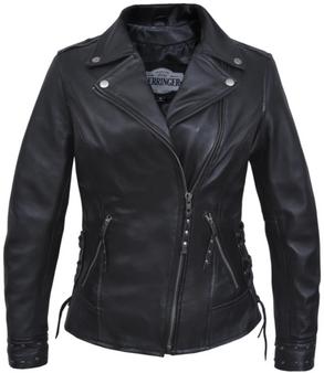 UNIK Ladies Premium Lambskin Leather Jacket With Studs And Lacing - SKU 6827-00-UN