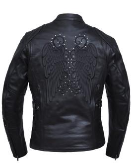 UNIK Ladies Premium Leather Jacket with Dark Gray Wings and Studs Design - 6824-RF-UN